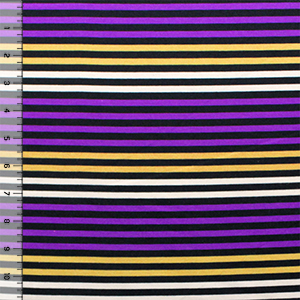 Purple Yellow Cream Small Stripe Ponte de Roma Fabric