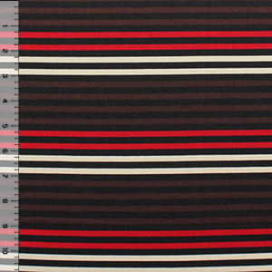 Half Yard Red Brown Cream Small Stripe Ponte de Roma Fabric