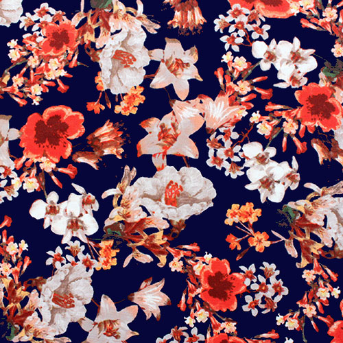 Red Pink Floral on Deep Blue Ponte De Roma Knit Fabric