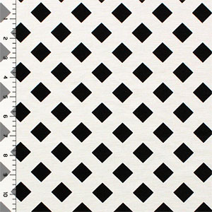 Slightly Flawed Off White Lattice on Black Ponte De Roma Knit Fabric