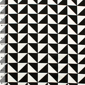 Black Triangle Squares on Off White Ponte De Roma Knit Fabric