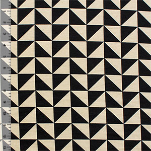 Half Yard Black Triangle Squares on Stone Ponte De Roma Knit Fabric