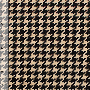 Small Black Houndstooth on Cafe Ponte De Roma Knit Fabric