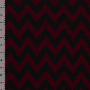 Deep Burgundy Black Chevron Ponte De Roma Knit Fabric