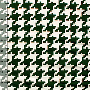 Medium Forest Green Houndstooth Ponte De Roma Knit Fabric