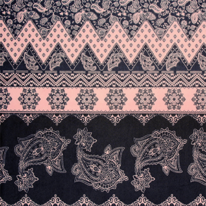 Navy Blue Paisley Baroque Rows on Pink Stretch Mesh Knit Fabric