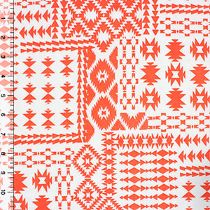 Coral Navajo Patchwork Liverpool Double Knit Fabric