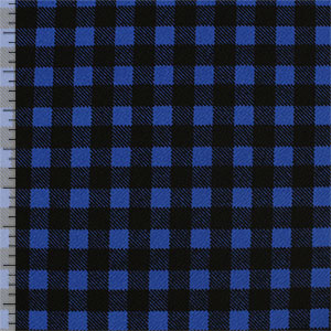 Black Simple Plaid on Royal Blue Liverpool Double Knit Fabric