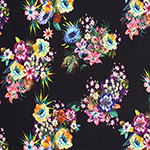 Bright Detailed Floral Bouquets on Black Liverpool Double Knit Fabric