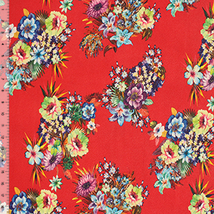 Bright Detailed Floral Bouquets on Red Liverpool Double Knit Fabric