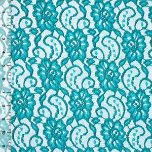 Teal Blue Floral Stretch Lace Knit Fabric