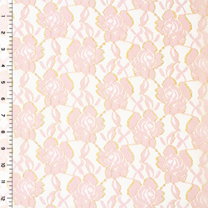 Rose Pink Gold Edge Roses Stretch Lace Knit Fabric