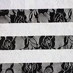 Black White Stripe Floral Stretch Lace Knit Fabric