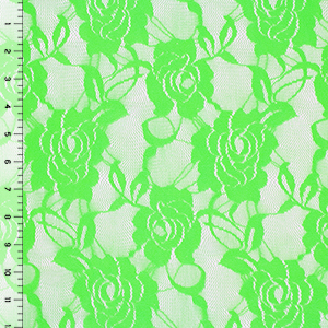 Half Yard Bright Neon Green Rose Stretch Lace Knit Fabric