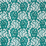 Teal Green Floral Stretch Lace Knit Fabric