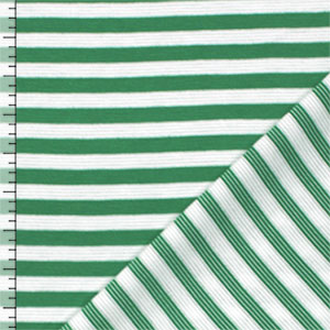 Leaf Green White Small Stripe Ponte de Roma Fabric