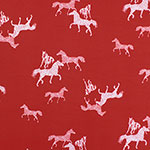 Wild Spotted Horses on Red Stretch Crepe Blend Knit Fabric