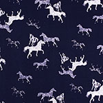 Wild Spotted Horses on Navy Stretch Crepe Blend Knit Fabric