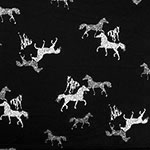 Wild Spotted Horses on Black Stretch Crepe Blend Knit Fabric