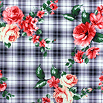 Coral Cream Roses on Navy Plaid Stretch Crepe Blend Knit Fabric