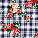 Coral Cream Roses on Black Plaid Stretch Crepe Blend Knit Fabric