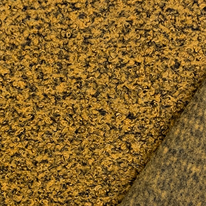 Mustard Black Marl Solid Teddy Sheep Knit Fabric