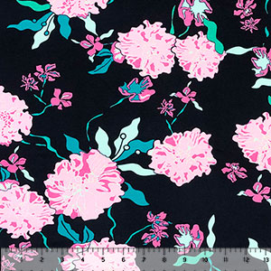 Big Pink Blue Botanical Floral on Black Stretch Crepe Blend Knit Fabric
