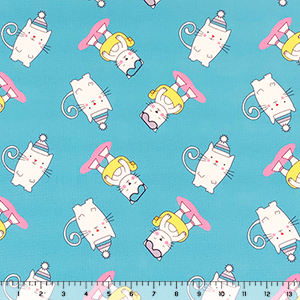 Half Yard Cutie Kitties on Turquoise Liverpool Bullet Double Knit Fabric