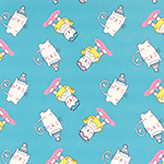 Cutie Kitties on Turquoise Liverpool Bullet Double Knit Fabric