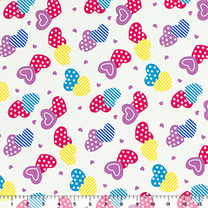 Sweet Hearts on White Liverpool Bullet Double Knit Fabric