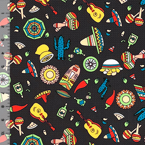 Fiesta Time on Brown Liverpool Bullet Double Knit Fabric