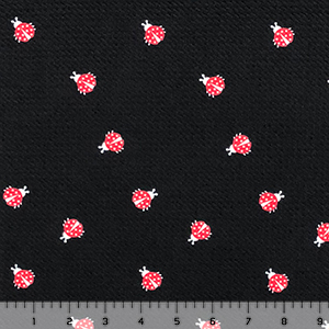 Ladybugs on Black Liverpool Bullet Double Knit Fabric