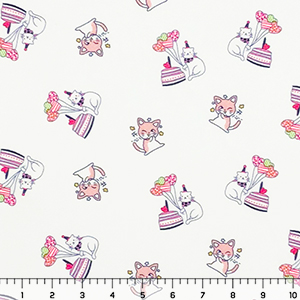 Kitten Birthday Party Liverpool Bullet Double Knit Fabric