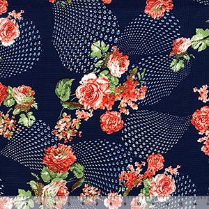 Pink Red Roses Patterned Droplets on Navy Liverpool Bullet Double Knit Fabric