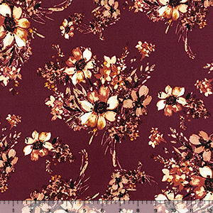 Autumn Floral on Burgundy Liverpool Pique Double Knit Fabric