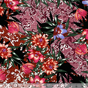 Tropical Flowers Palm Leaf Patchwork Baroque Liverpool Bullet Double Knit Fabric