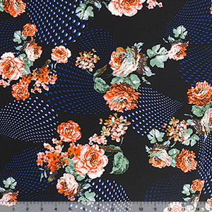 Pink Red Roses Patterned Droplets on Black Liverpool Bullet Double Knit Fabric