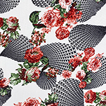 Red Maroon Roses Patterned Droplets on Black Liverpool Bullet Double Knit Fabric