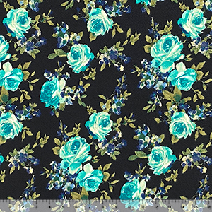 Teal Blue Green Roses on Black Liverpool Pique Double Knit Fabric