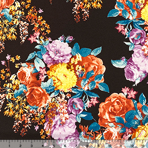 Terracotta Rose Floral on Cocoa Liverpool Pique Double Knit Fabric