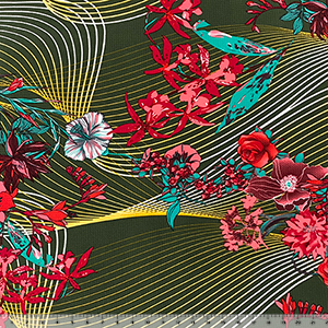 Tropical Floral Geo Lines on Olive Liverpool Bullet Double Knit Fabric