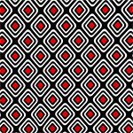White Red Mod Diamonds on Black Liverpool Pique Double Knit Fabric