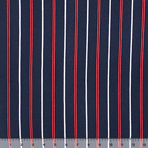 Red White Vertical Stripe on Navy Liverpool Pique Double Knit Fabric