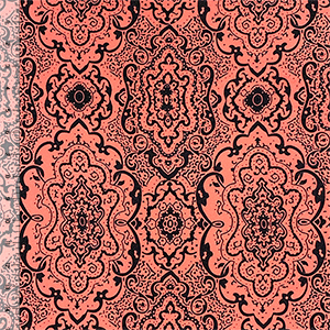 Black Coral Pink Baroque Liverpool Pique Double Knit Fabric