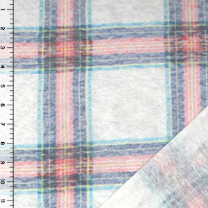 Pink Blue Plaid Reverse Slub Jersey Sweatshirt Fleece Knit Fabric