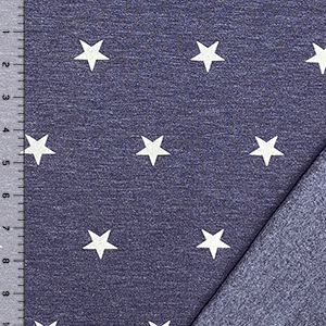 White Stars on Heather Blue Cotton Jersey Sweatshirt Fleece Knit Fabric