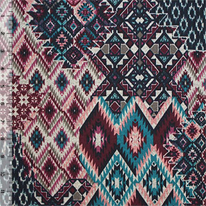 Navajo Diamond Patchwork Hacci Sweater Knit Fabric