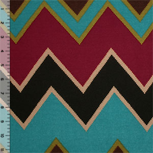 Half Yard Burgundy Brown Big Stitched Chevron Hacci Sweater Knit Fabric