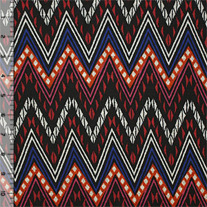 Red Black Ornate Chevron Hacci Sweater Knit Fabric