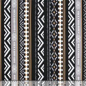 Half Yard Black Gray Gold Vertical Navajo Stripe Hacci Sweater Knit Fabric
